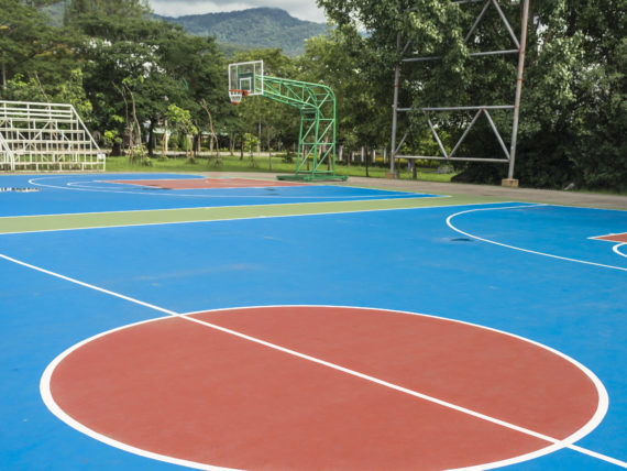Colourful new Outdoor basketball court floor