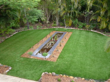 Backyard synthetic lawn